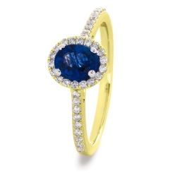 HROGBS1029 Oval cut Blue Sapphire Halo Ring - yellow