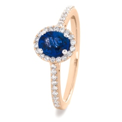 HROGBS1029 Oval cut Blue Sapphire Halo Ring - rose