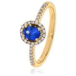 HROGBS1032 Oval cut Blue Sapphire & Diamond Halo Ring - rose