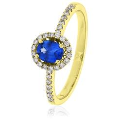 HROGBS1032 Oval cut Blue Sapphire & Diamond Halo Ring - yellow