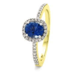 HROGBS1034 Square Halo Blue Sapphire & Diamond Halo Ring - yellow