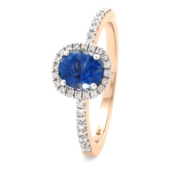 HROGBS1034 Square Halo Blue Sapphire & Diamond Halo Ring - rose