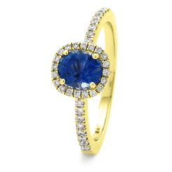 HROGBS1034 Square Halo Blue Sapphire & Diamond Halo Ring - yellow