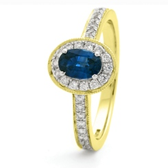 HROGBS1036 Classic Oval cut Blue Sapphire Halo Ring - yellow