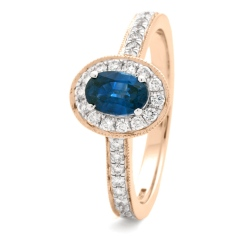 HROGBS1036 Classic Oval cut Blue Sapphire Halo Ring - rose