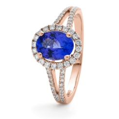 HROGBS1038 Split Shank Blue Sapphire & Diamond Halo Ring - rose