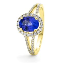 HROGBS1038 Split Shank Blue Sapphire & Diamond Halo Ring - yellow