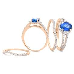 HROGBS1040 Blue Sapphire & Diamond Split Shank Halo Ring - rose