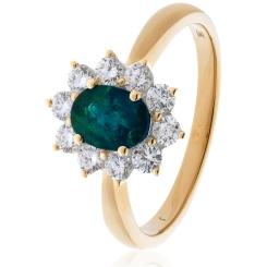 HROGEM1024 Emerald Gemstone & Diamond Halo Ring - rose
