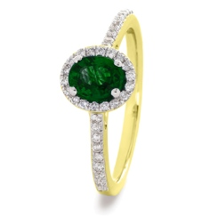 HROGEM1030 Oval cut Emerald Gemstone Halo Ring - yellow