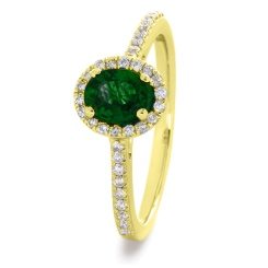HROGEM1030 Oval cut Emerald Gemstone Halo Ring - yellow
