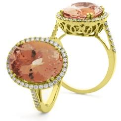 HROGMG1131 Morganite & Diamond Single Halo Ring - yellow