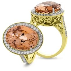 HROGMG1132 Designer Morganite & Diamond Single Halo Ring - yellow