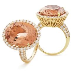 HROGMG1133 Designer Pave Style Morganite & Diamond Single Halo Ring - yellow