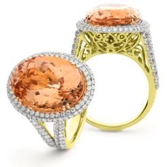 HROGMG1134 Designer Split Shank Morganite & Diamond Single Halo Ring - yellow