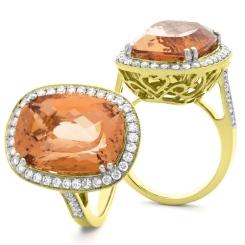 HROGMG1136 Designer Oval Shape Morganite & Diamond Single Halo Ring - yellow