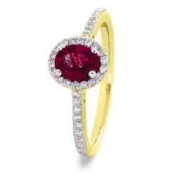 HROGRY1031 Oval cut Ruby Gemstone Halo Ring - yellow
