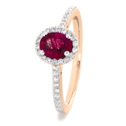 HROGRY1031 Oval cut Ruby Gemstone Halo Ring - rose