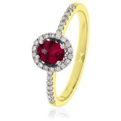 HROGRY1033 Oval cut Ruby Gemstone & Diamond Halo Ring - yellow