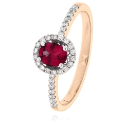 HROGRY1033 Oval cut Ruby Gemstone & Diamond Halo Ring - rose