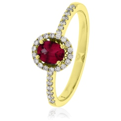 HROGRY1033 Oval cut Ruby Gemstone & Diamond Halo Ring - yellow