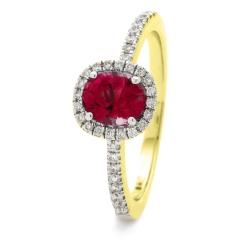 HROGRY1035 Square Halo Ruby & Diamond Halo Ring - yellow