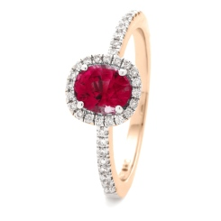 HROGRY1035 Square Halo Ruby & Diamond Halo Ring - rose