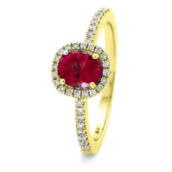 HROGRY1035 Square Halo Ruby & Diamond Halo Ring - yellow
