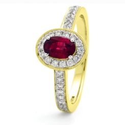 HROGRY1037 Classic Oval cut Ruby Gemstone Halo Ring - yellow