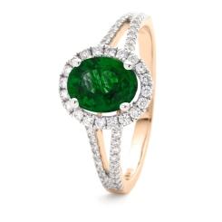 HROGRY1039 Split Shank Emerald & Diamond Halo Ring - rose