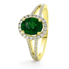 HROGRY1039 Split Shank Emerald & Diamond Halo Ring - yellow