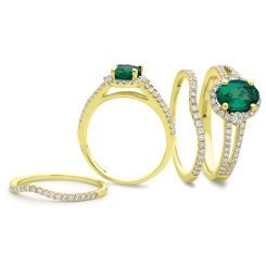 HROGRY1041 Emerald & Diamond Split Shank Halo Ring - yellow