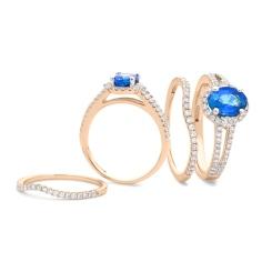 HROGTZ1042 Tanzanite & Diamond Split Shank Halo Ring - rose