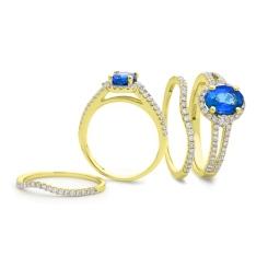 HROGTZ1042 Tanzanite & Diamond Split Shank Halo Ring - yellow
