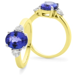 HROGTZ1088 Tanzanite & Diamond Three Stone Ring - yellow