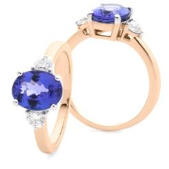 HROGTZ1088 Tanzanite & Diamond Three Stone Ring - rose