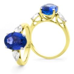 HROGTZ1089 Tanzanite & Pear cut Diamond Three Stone Ring - yellow