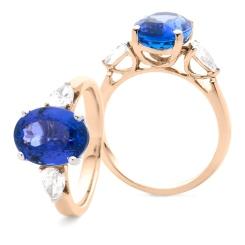 HROGTZ1089 Tanzanite & Pear cut Diamond Three Stone Ring - rose