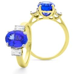 HROGTZ1090 Tanzanite & Emerald cut Diamond Three Stone Ring - yellow