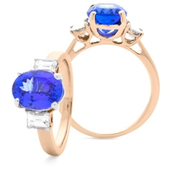 HROGTZ1090 Tanzanite & Emerald cut Diamond Three Stone Ring - rose