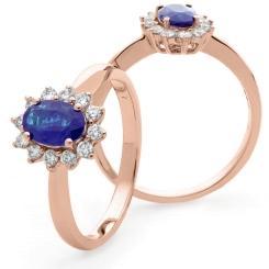 HROGTZ1093 Tanzanite & Diamond Single Halo Ring - rose