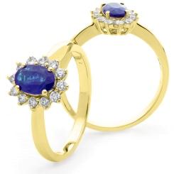HROGTZ1093 Tanzanite & Diamond Single Halo Ring - yellow