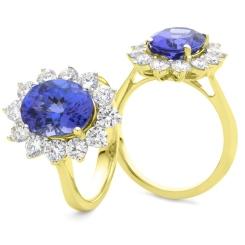 HROGTZ1094 Tanzanite & Diamond Floral Design Halo Ring - yellow