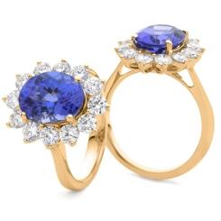 HROGTZ1094 Tanzanite & Diamond Floral Design Halo Ring - rose