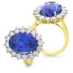 HROGTZ1095 Large Tanzanite & Diamond Halo Gemstone Ring - yellow