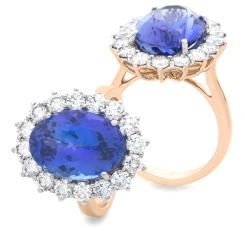 HROGTZ1095 Large Tanzanite & Diamond Halo Gemstone Ring - rose