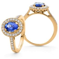 HROGTZ1096 Single Halo Tanzanite & Diamond Gemstone Ring - rose
