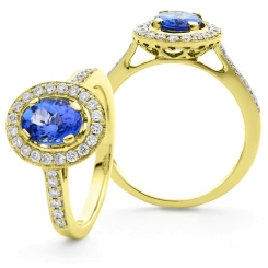 HROGTZ1096 Single Halo Tanzanite & Diamond Gemstone Ring - yellow