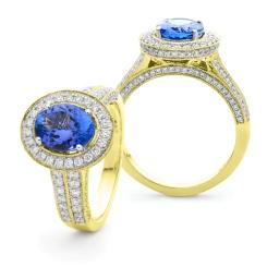 HROGTZ1097 Double Band Halo Tanzanite & Diamond Gemstone Ring - yellow