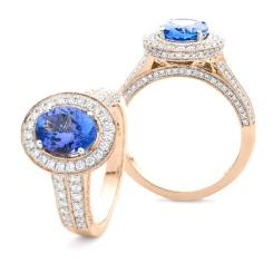 HROGTZ1097 Double Band Halo Tanzanite & Diamond Gemstone Ring - rose